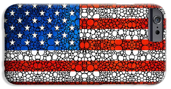 Democrat iPhone Cases - American Flag - USA Stone Rockd Art United States Of America iPhone Case by Sharon Cummings