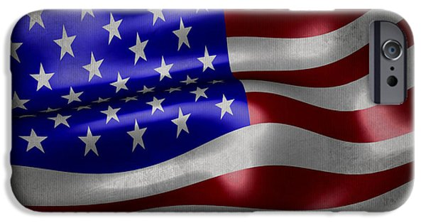 Waving Flag Mixed Media iPhone Cases - American flag waving on canvas iPhone Case by Eti Reid