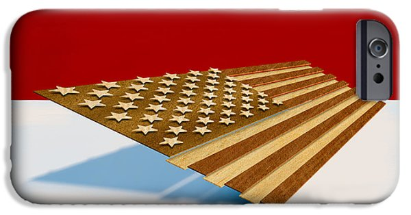 American Flag Digital Art iPhone Cases - American Flag Wood iPhone Case by Yo Pedro