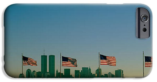 American Flag iPhone Cases - American Flags In A Row, New York City iPhone Case by Panoramic Images