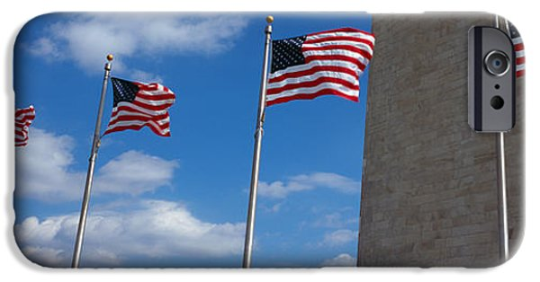 National Mall iPhone Cases - American Flags In Front Of An Obelisk iPhone Case by Panoramic Images