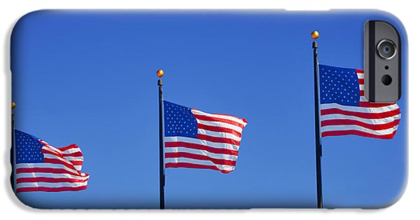 4th July Photographs iPhone Cases - American Flags - Navy Pier Chicago iPhone Case by Christine Till