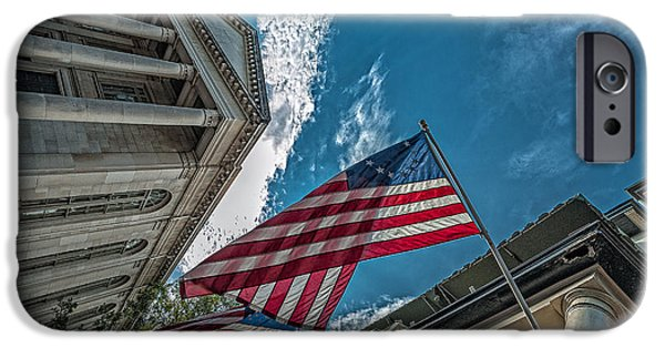Patriotic Savannah iPhone Cases - American flags iPhone Case by Oleg Koryagin
