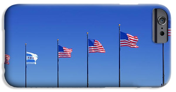 4th July Photographs iPhone Cases - American Flags on Chicagos famous Navy Pier iPhone Case by Christine Till