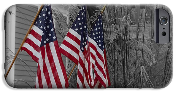 Fourth Of July iPhone Cases - American Flags - Selective Color iPhone Case by Kirkodd Photography Of New England