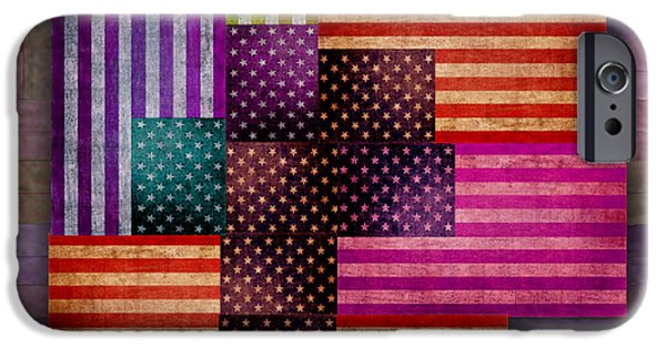Old Glory Mixed Media iPhone Cases - American Flags iPhone Case by Tony Rubino