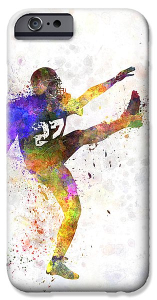 American Football Paintings iPhone Cases - American Football Player Man Kicker Kicking iPhone Case by Pablo Romero