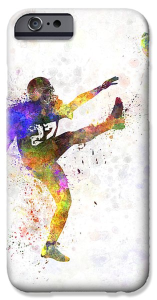 Cut-outs Paintings iPhone Cases - American Football Player Man Kicker Kicking iPhone Case by Pablo Romero