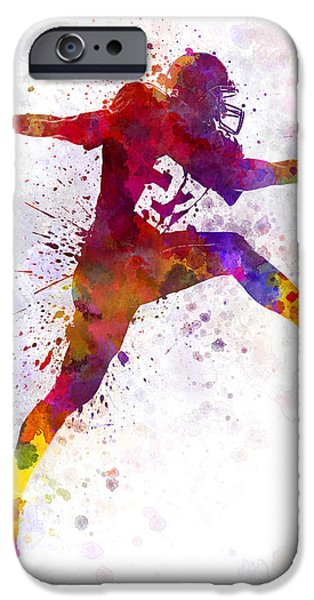 Cut-outs Paintings iPhone Cases - American Football Player Man Scoring Touchdown iPhone Case by Pablo Romero