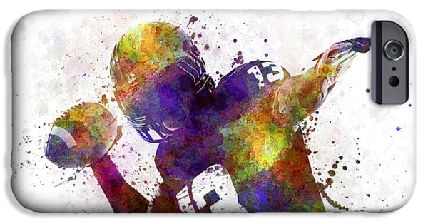 Cut-outs Paintings iPhone Cases - American Football Player Quarterback Passing Portrait Silhouette iPhone Case by Pablo Romero
