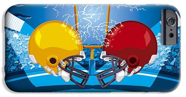 Ramspott iPhone Cases - American Football Stadium Helmet Lightning iPhone Case by Frank Ramspott