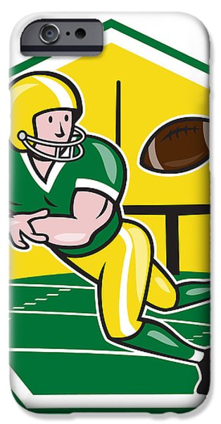 American Football Wide Receiver Catching Ball Cartoon iPhone Case by Aloysius Patrimonio