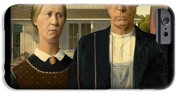 Important Paintings iPhone Cases - American Gothic Duvet iPhone Case by Grant Wood
