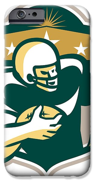 American Gridiron Wide Receiver Running iPhone Case by Aloysius Patrimonio