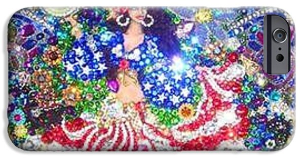 Beadwork Jewelry iPhone Cases - American Gypsy Queen beadwork with crystals iPhone Case by Sofia Metal Queen