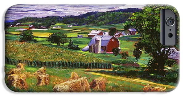 Hay Bales iPhone Cases - American Heartland iPhone Case by David Lloyd Glover