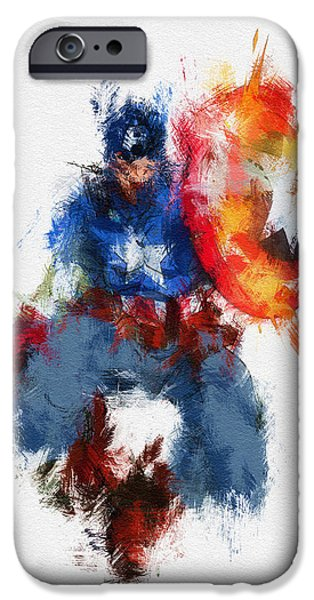 Character Portraits Digital Art iPhone Cases - American Hero iPhone Case by Miranda Sether
