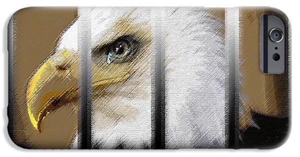 Eagle Pastels iPhone Cases - American Heroes Unjustly Behind Bars iPhone Case by George Pedro