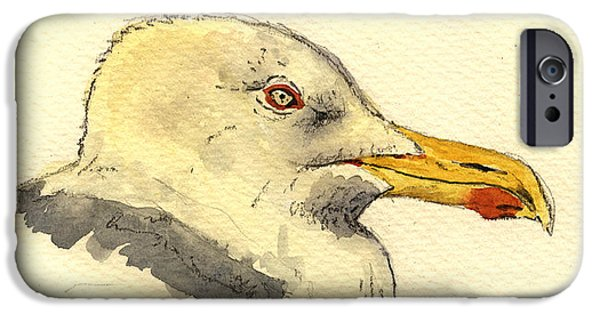 Smithsonian iPhone Cases - American herring gull iPhone Case by Juan  Bosco