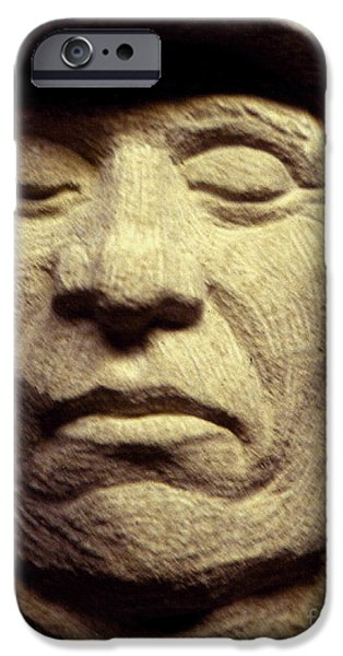 Iron Sculptures iPhone Cases - American-Indian-Portrait 2 iPhone Case by Gordon Punt