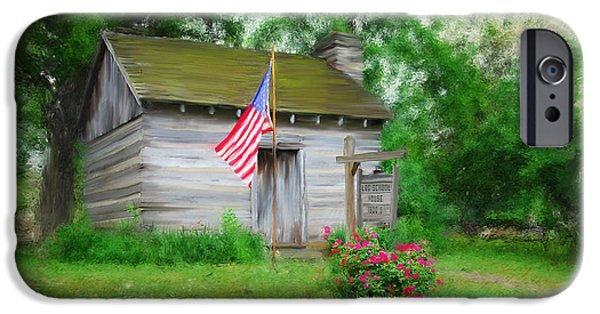 Log Cabin Mixed Media iPhone Cases - American Log Cabin iPhone Case by Mary Timman
