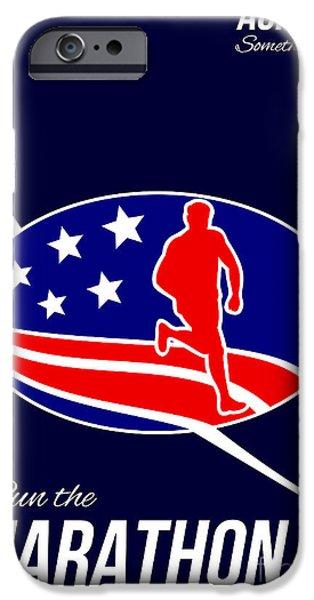 American Marathon Achieve Something Poster  iPhone Case by Aloysius Patrimonio