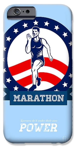 American Marathon Runner Power Poster iPhone Case by Aloysius Patrimonio