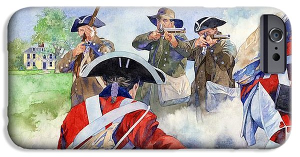 War Of Independence iPhone Cases - American Militiamen at Lexington iPhone Case by Matthew Frey