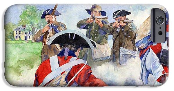 American Revolution iPhone Cases - American Militiamen at Lexington iPhone Case by Matthew Frey