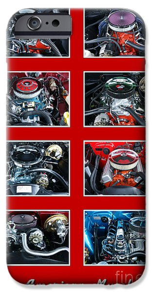 Rebuilt iPhone Cases - American Muscle Red Poster iPhone Case by Olivier Le Queinec