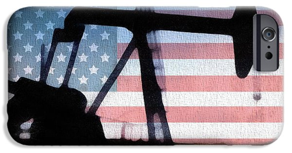 Red White And Blue Mixed Media iPhone Cases - American Oil Rig iPhone Case by Dan Sproul