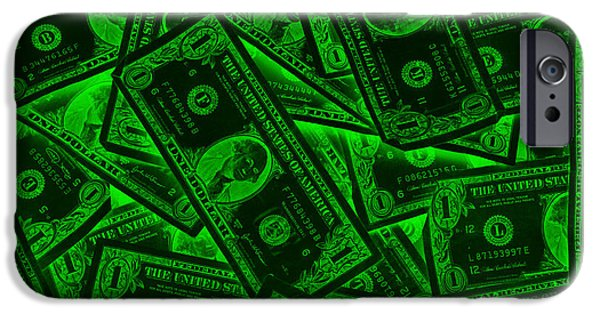 Currency iPhone Cases - American One Dollar Bills Pop Art iPhone Case by Keith Webber Jr
