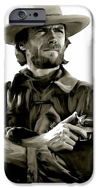 American Outlaw  Clint Eastwood iPhone Case by Iconic Images Art Gallery David Pucciarelli