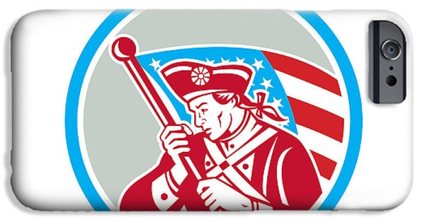 American Revolution Digital Art iPhone Cases - American Patriot Soldier Waving Flag Circle iPhone Case by Aloysius Patrimonio