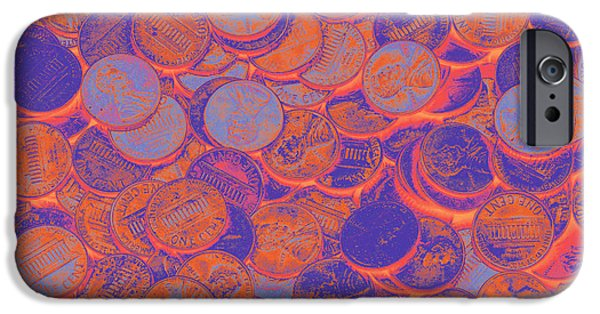 Banking iPhone Cases - American pennies Pop Art iPhone Case by Keith Webber Jr