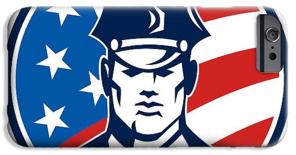Policeman iPhone Cases - American Policeman Security Guard Retro iPhone Case by Aloysius Patrimonio