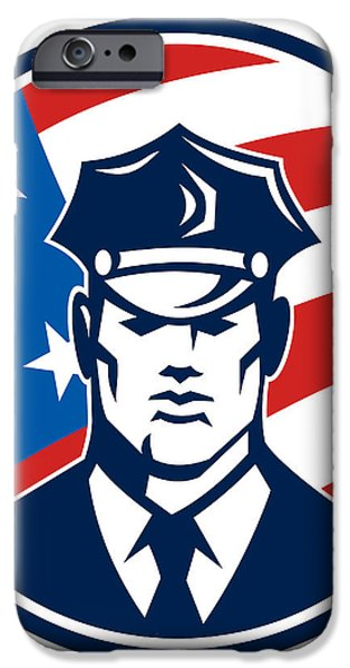 American Policeman Security Guard Retro iPhone Case by Aloysius Patrimonio