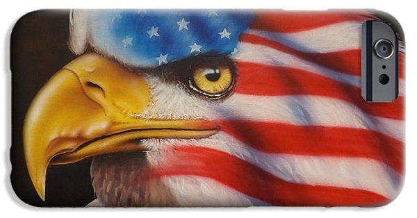 Old Glory Paintings iPhone Cases - American Pride iPhone Case by Darren Robinson