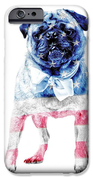 Friendly iPhone Cases - American Pug iPhone Case by Edward Fielding