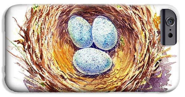 Birds iPhone Cases - American Robin Nest iPhone Case by Irina Sztukowski