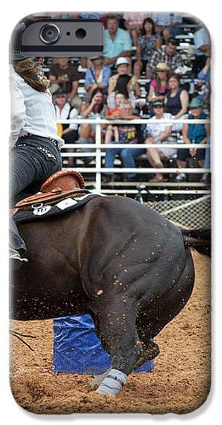 American Rodeo Female Barrel Racer Dark Horse II iPhone Case by Sally Rockefeller
