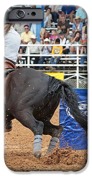 American Rodeo Female Barrel Racer Dark Horse III iPhone Case by Sally Rockefeller