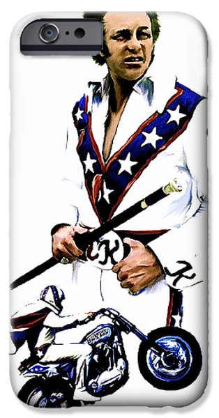 David Drawings iPhone Cases - American Roulette  Evel Knievel iPhone Case by Iconic Images Art Gallery David Pucciarelli