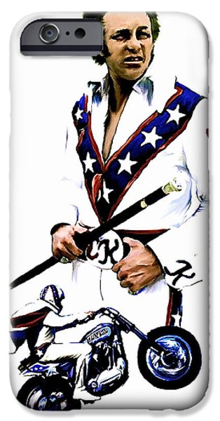 Works Drawings iPhone Cases - American Roulette V  Evel Knievel iPhone Case by Iconic Images Art Gallery David Pucciarelli