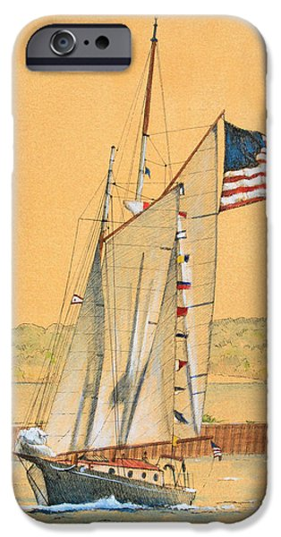 Sailboat Ocean Mixed Media iPhone Cases - American Schooner iPhone Case by James Zeger