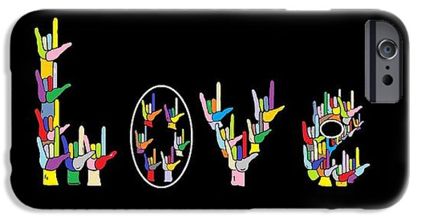 Digitally Signed Mixed Media iPhone Cases - American Sign Language I LOVE U   iPhone Case by Eloise Schneider