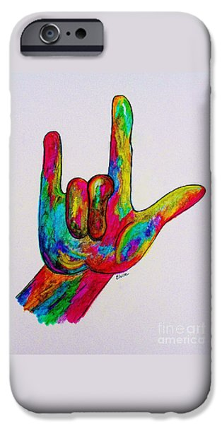 Diversity iPhone Cases - American Sign Language I LOVE YOU iPhone Case by Eloise Schneider