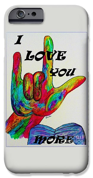Modern Abstract iPhone Cases - American Sign Language I LOVE YOU MORE iPhone Case by Eloise Schneider