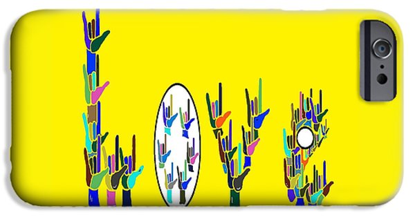 Abstract Digital Paintings iPhone Cases - American Sign Language LOVE HANDS iPhone Case by Eloise Schneider