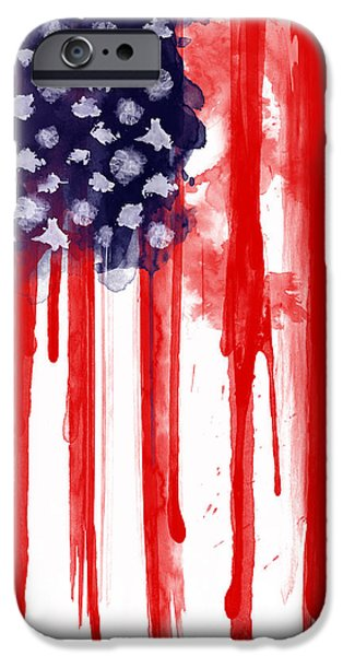America Digital Art iPhone Cases - American Spatter Flag iPhone Case by Nicklas Gustafsson